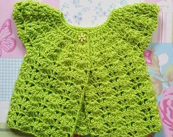 Baby cardigan, crochet cardigan, crocheted baby cardigan, 0-6 months, cap sleeved cardigan, summer cardigan, lightweight cardigan