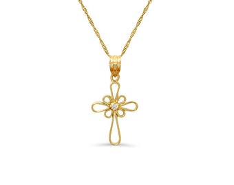 """14k solid gold .03ct diamond cross with gold 18"""" chain. religious necklace"""