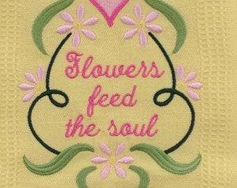 Flowers Feed the Soul Embroidered Bamboo Hand Towel - Yellow