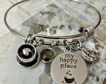 Coffee Lovers, Barista, Cappuccino Engraved My Happy Place Bangle Bracelet