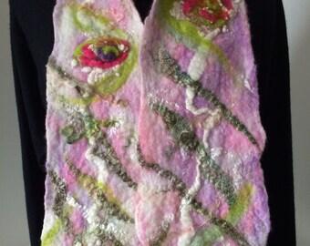 Nuno felted scarf. Pink scarf, wool scarf