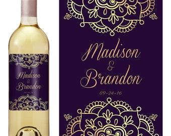 Wedding Wine Label - Custom Wine Label - Personalized Wine Label - Wedding Wine Bottle Label - Gold Wedding