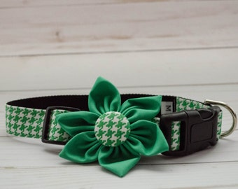 Dog Flower Collar in Green Houndstooth print with Matching Green Flower