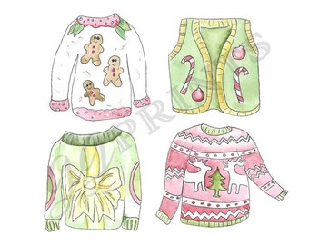 Ugly Sweater Clipart // Christmas Clipart // Ugly Sweater Party // Watercolor Clipart