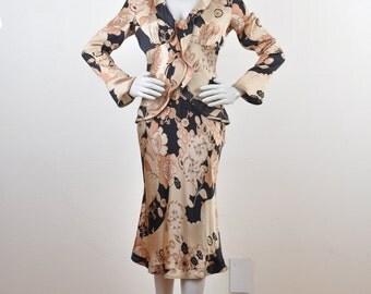 Etro 1990 Retro 1940's Satin Doll Dress Print Mambo Kings Ruffles
