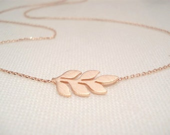 Sideways Leaf necklaces..Gold, Silver or Rose gold simple everyday handmade minimalist, bridal jewelry, wedding, bridesmaid gift