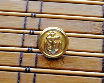Vintage Metal Goldtone Shank Style Button Anchors Away by JHB of France