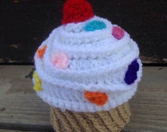 Cupcake hat, crochet cupcake hat, crochet baby hat, newborn photography, photography props, dessert hat,