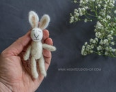 Felted Tiny Rabbit , Photography Prop, Tiny Banny Needle Felted, newborn props