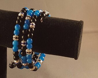 Midnight blue beaded memory wire bracelet