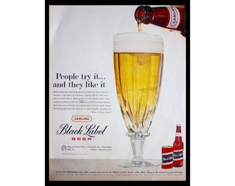 1960 Ad Carling Black Label Beer Vintage print Ad ETK323