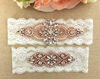 Rose Gold Bridal Garter - Wedding Lace Garter Set - Pearl Garter - Bridal Garter - Toss Garter - Keepsake Garter - Wedding Garter Belt