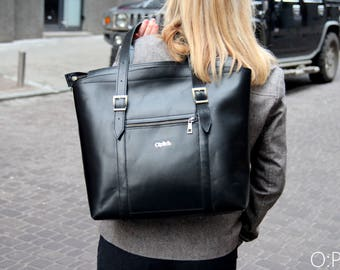 Large leather tote computer bag
