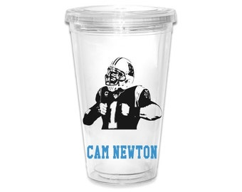 Carolina Panthers Cam Newton Image  16oz Tumbler 2 Styles to Choose From