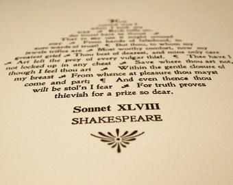 Sonnet XLVIII 48 Shakespeare letterpress print