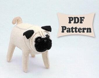 Felt Pug, Pug Pattern, Felt Pattern, Felt Dog, Felt Dog Pattern, Dog Pattern, Felt Doll Pattern, Felt Animal Patterns, Soft Felt Toy Pattern