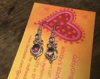 925 Silver Earring with Amethyst Crystal