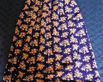 70s Hippie/Boho/Prairie/Peasant/Folk Floral velvet Maxi Skirt