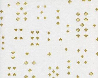 Follow Suit in Cream (metallic) Cotton Lawn- Wonderland by Rifle Paper Co for Cotton and Steel