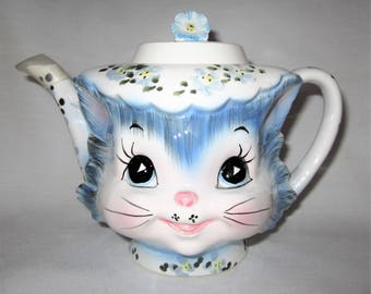 Vintage Lefton Miss Priss Kitty Cat Teapot Made in Japan 1516
