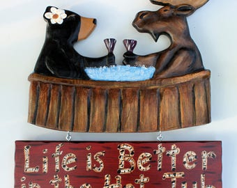 Hot Tub  Sign, Spa Sign, hand carved moose and bear in a hot tub with his drink - Bear Bottoms Allowed, Bear Bottoms Required