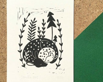 Sleeping Mommy and Baby Deer Linocut Print edition of 20