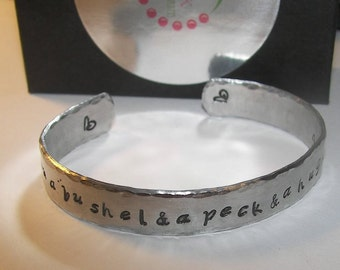 I love you a bushel and a peck, and a hug around the neck, personalized cuff bracelet, personalized , mommy jewelry, custom hand stamped