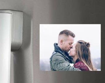 Save the date magnetic postcards. Photo Wedding magnets with matching white envelope. Personalised and cutsomisable.