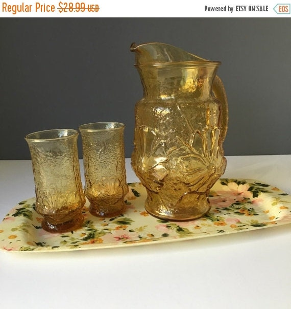 ON SALE Anchor Hocking Rainflower Amber Glass Pitcher and Glass 3Pc Set, Vintage Serving