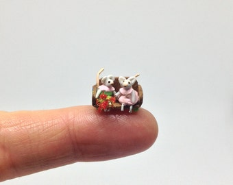 Miniature Micro Girl & Boy Valentine Mouse / Mice on a Chair Settee Seat for Dollhouse