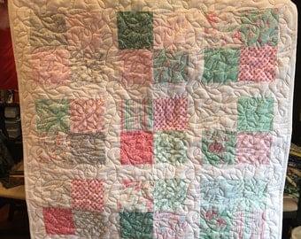 Handmade Baby Quilt - Country Hummingbird