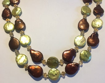 Freshwater Disc Coin Pearl Chocolate Brown Peridot Faceted Citrine Gold Filled Multi Strand Necklace