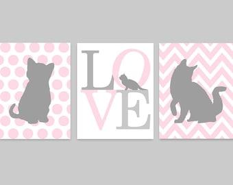 Cat Nursery Art, Baby Girl Nursery, Kitten Nursery Decor, Pink and Grey, Chevron, Toddler Girls, Kids Wall Art, Cat Lover Gift, Cat Canvas