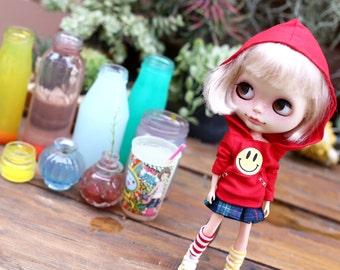 Red Hood  Set of 2 Pcs / Doll clothes for Neo Blythe , Pullip ,Licca dolls.
