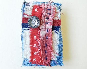 Unique Denim Textile Brooch Pin, Vintage Button, Blue and Red Colour, Hand Stitched