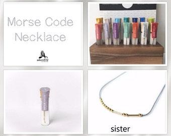 Sister Morse Code Necklace, Sister Morse Code, Sister Code, Morse Code Necklace, Morse Code Necklace Sister, Morse Code Sister Necklace