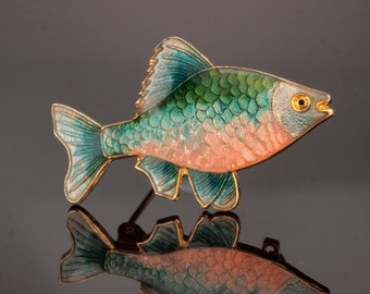 Vintage Enamel Fish Pin Brooch; Guilloche Enamel Novelty Pin
