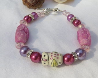 Purple Owl Bracelet Ceramic Owl Bracelet Glass Beaded Bracelet Woman's Jewelry
