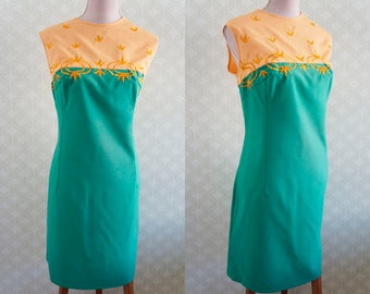 XL summer vintage dress. Green and yellow color block dress. 70s vintage dress. Large summer dress.