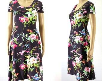 Floral knee long Jersey dress