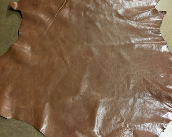 Italian Lambskin Leather lamb Skin Hide Shiny Brown - 3 Sq.Ft  (S) 2 oz