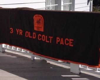 Vintage race horse blanket in brown and orange