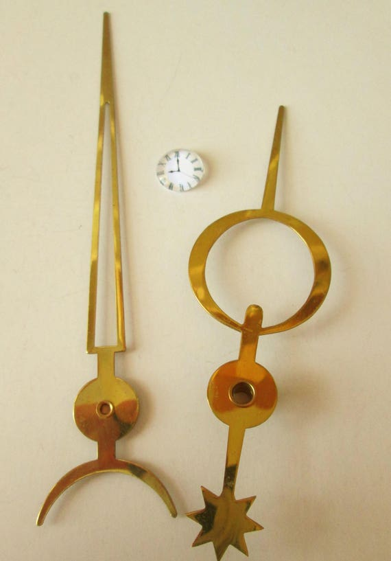 1 Pair of Large Vintage Solid Brass Moon And Star Design Clock Hands  - Make Clocks - Jewelry - Steampunk Art - Crafts & Etc.....