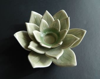 Siam Celadon Ceramic Lotus Flower Candle Holder with Crazing Thailand