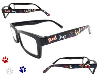 Women's 3.50 Strength Patriotic Puppy Dog Reading Glasses with Hand Painted Bones, Food, WOOF, Doghouse, Fireworks, Paw Prints, Polka Dots