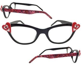 Women's Black 3.0 Strength Cat Eye Valentine's Day Reading Glasses with Embellishments and Hand Painted Red and Pink Hearts