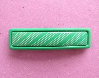 VINTAGE green with white stripes hair clip / Fermaglio per capelli vintage nuovo, verde e a righe bianche