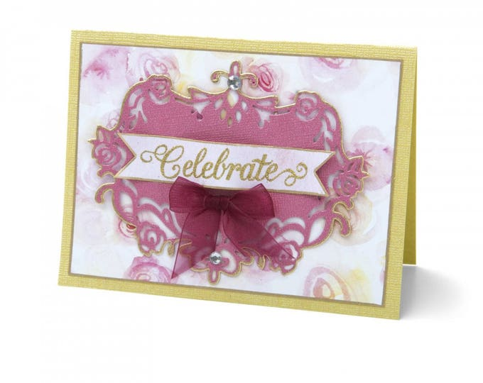 New! Sizzix Thinlits Die - Floral Label #2 by David Tutera 661897