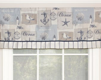 Beaches straight banded valance with gimp trim