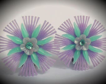 Vintage Plastic Flower Earrings ~ Purple clip ons with turquoise petals and rhinestone accents ~ handmade from original 1950's new old stock